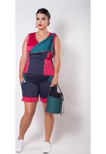 Blusa Kapsuli Plus Size Versátil Rosa/Azul/Verde