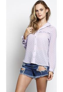 Camisa Em Poás Com Botões- Liláschocoleite
