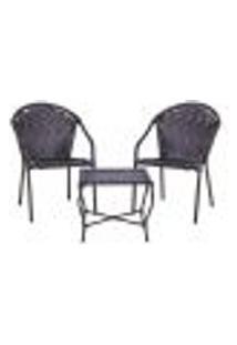 Conjunto Mesa Baixa E 2 Cadeiras Para Área Edicula Jardim Biquini Ferro E Fibra Tabaco