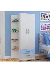 Guarda Roupa Infantil 2 Portas 2 Gavetas Com 4 Prateleiras Externas Siena Móveis Branco/Azul