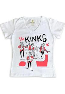Camiseta Gola V Rock Cool Tees Caco Galhardo Banda The Kinks Feminina - Feminino-Branco
