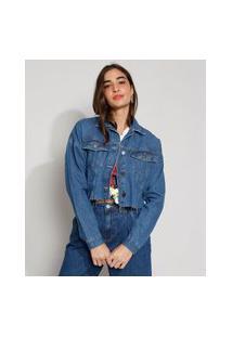 Jaqueta Jeans Feminina Cropped Barra Com Elástico Azul Escuro