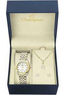 Kit Relógio Champion Feminino - Ch22019E - Feminino-Dourado