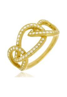 Anel Layla Cristal Di Capri Semi Jóias X Ouro Dourado