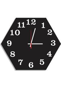 Relógio De Parede Decorativo Premium Hexagonal Preto Ônix Com Números Em Relevo Médio