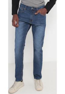 Jeans Slim Reto Estonado- Azul Escuro- Calvin Kleincalvin Klein