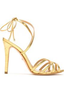 Schutz Sandália Metalizada Com Tiras - Dourado