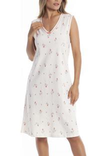 Camisola Regata Rosas Paulienne Clássica (P.361.63.A) 100% Algodão - Plus Size