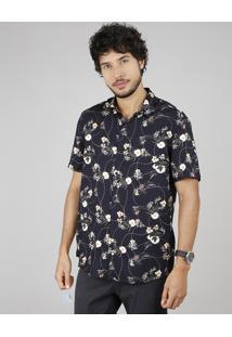 Camisa Masculina Estampada Floral Manga Curta Preto