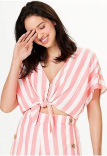 Blusa Feminina Cropped Com Amarração Listrada