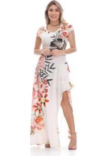 ee90ac4a6 ... Vestido Clara Arruda Longo Ombro Decote - Feminino-Off White