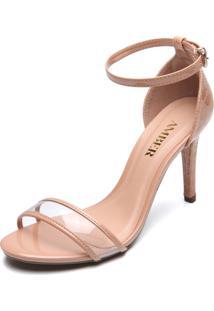 Sandália Amber Transparente Verniz Bege