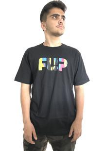 Camiseta Flip Skateboards Torn Neon Preta