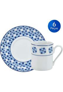 Conjunto 6 Xícaras De Café Com Pires Athena - Schmidt - Branco / Azul