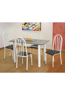 Conjunto De Mesa Carla Com 4 Cadeiras Branca Preto Flor