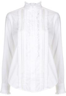 Polo Ralph Lauren Camisa Gola Alta Com Babados - Branco