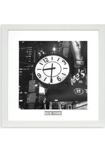 Quadro New York Relógio Kapos Branco 33X33Cm