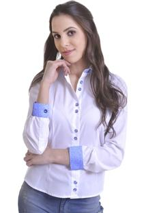 95.028 Camisa Social Feminina Modelo E Branca/Azul - Feminino