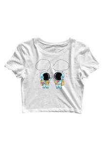 Blusa Blusinha Feminina Cropped Tshirt Camiseta 2 Astronauta Branco
