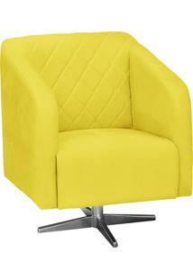 Poltrona Decorativa D'Rossi Silmara Suede Amarelo Com Base Giratória Em Aço Cromado
