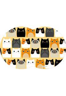 Tapete Pet Gatos Amarelo 55X35Cm