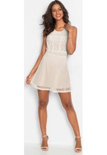 Vestido Com Recortes Em Renda Branco E Bege