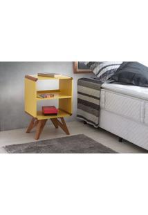 Criado-Mudo Alto Colorido Amarelo Design Retrô Vintage Presley - 46X33,5X71 Cm