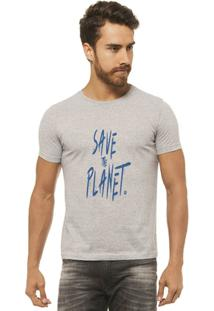 Camiseta Joss Estampada - Save The Planet - Masculina - Masculino-Mescla