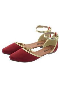 Sapatilha Romântica Calçados Salomé Vermelho