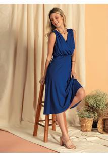 Vestido Com Decote Transpassado E Lastex Azul