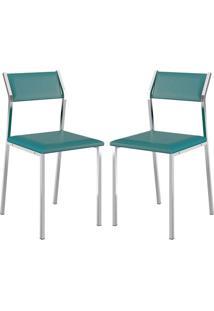 Cadeira 1709 Cromada 02 Unidades Turquesa Carraro