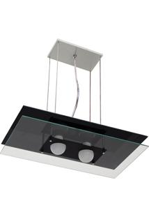 Pendente Em Alumínio Retangular Para 2 Lâmpadas Preto