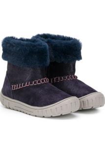 Geox Kids Ankle Boot Com Acabamento Em Pelo - Azul