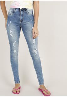 Calça Jeans Feminina Sawary Skinny Super Lipo Cargo Cintura Alta Destroyed Azul Médio