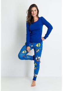 Pijama Longo Ribana De Algodão Heróis Acuo Feminino - Feminino-Azul