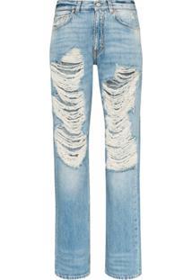 Givenchy Calça Jeans Reta Com Efeito Destroyed - Azul