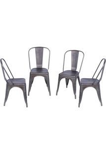 Jogo De Cadeiras De Jantar Retrã´- Bronze- 4Pã§S- Or Design