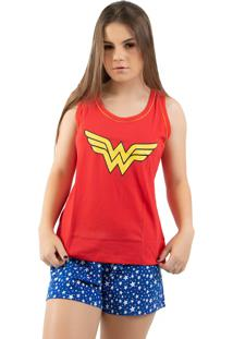 Baby Doll 4 Estações Regata Verão Adulto Moda Pijama Mulher Maravilha Vermelho