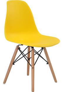 Cadeira Sem Braço Pp Base De Madeira Eiffel -Rivatti - Amarelo