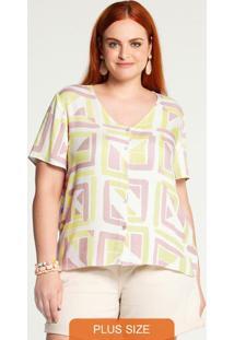 Camisa Plus Size Rayon Amarelo