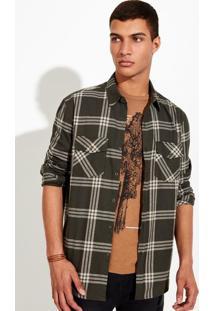 Camisa Masculina Em Flanela De Algodão Com Estampa Xadrez