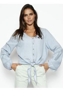 Camisa Jeans Com Amarraã§Ã£O - Azul Claroscalon