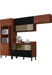 Cozinha Modulada Compacta 5 Peças Viv Concept C03 Nogueira/Black - Kit