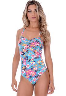 Maiô Summer Soul Frente Única Com Franzido Floral Azul