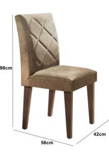 Conjunto Sala De Jantar Mesa Com 4 Cadeiras Cayman Siena Móveis Off White/Café/Animalle Chocolate