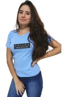 Camiseta Feminina Cellos To Life Premium Azul Claro - Kanui