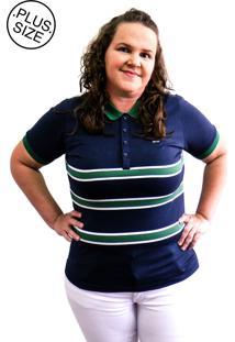 Camisa Hifen Pólo Listrada Plus Size Marinho