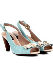 Peep Toe Chanel Jorge Bischoff Texturizado Salto Cone Feminino - Feminino-Verde Claro