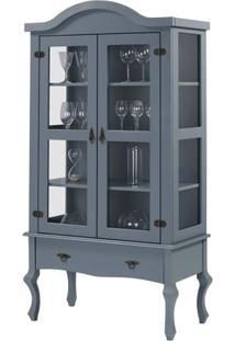Cristaleira Versalhes 2 Portas E 1 Gaveta Cor Cinza 192 Cm - 63699 - Sun House