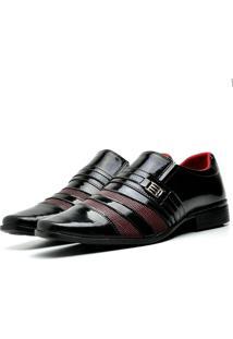 Sapato Social Top Flex Verniz 813 Preto E Vinho/Vermelho